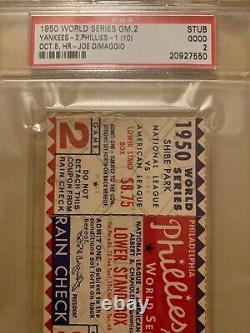 Psa 2 Joe Dimaggio Hr 1950 Philadelphia Phillies World Series Ticket Yankees