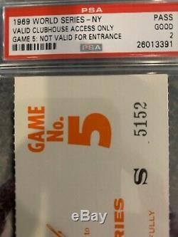 Psa 2 NOLAN RYAN Only World Series Ticket MIRACLE Mets 1969 Clubhouse Clinching