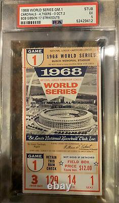 Psa 5 Nice 1968 World Series Game 1 Ticket Bob Gibson 17 Strikeouts