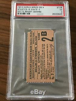 RARE 1913 World Series Game 4 A's vs. Giants Ticket Stub PSA 3 VG Highest Graded
