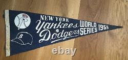 RARE Vintage Yankees-Dodgers 1955 World Series Pennant