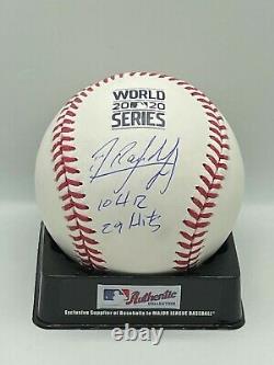 Randy Arozarena Signed Auto 2020 World Series Baseball JSA W COA 10 HR 29 HITS
