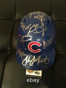 Rare 2016 Chicago Cubs Team Signed World Series Baseball Mini Helmet Bryant Auto