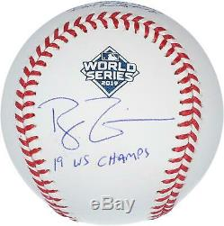 Ryan Zimmerman Nationals Signed 2019 World Series Champs Ball & 19 Champs Insc