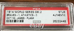 SCARCE 1914 World Series Game 2 A's Miracle Braves Ticket Stub PSA Authentic