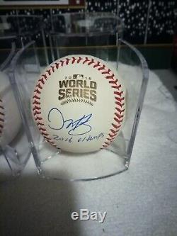 THEO EPSTEIN SZCZUR MARTINEZ Signed 2016 World Series MLB BASEBALL CUBS LOT COA
