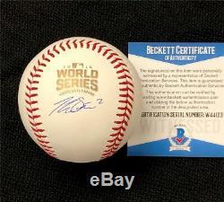 Tommy La Stella signed Cubs 2016 World Series Baseball Beckett Witness BAS COA