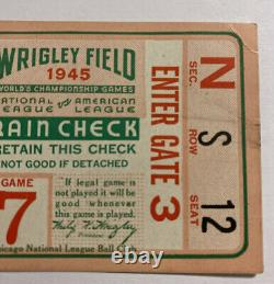 Vintage 1945 World Series Gm 7 Ticket Stub Detroit Tigers/Chicago Cubs