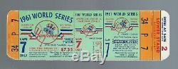 Vintage 1961 World Series Reds @ New York Yankees Full Baseball Ticket Game #7