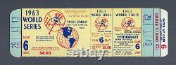 Vintage 1963 World Series La Dodgers @ New York Yankees Full Baseball Ticket G#6