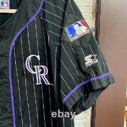 Vintage 90s Starter Colorado Rockies MLB Pinstripe Baseball Jersey Vtg Arenado