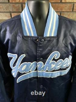 Vintage Majestic New York Yankees MLB Baseball Snap Satin Dugout Jacket Mens XXL