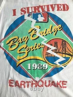 Vtg 1980s 1989 World Series Oakland As SF Giants T Shirt Mens Earthquake