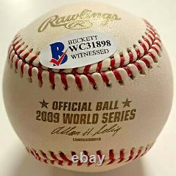 Yankees Alex Rodriguez Signed 2009 World Series Baseball Beckett BAS Witnessed