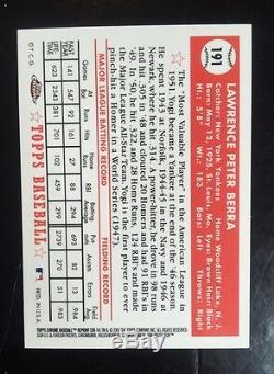 Yogi Berra 2002 Topps Chrome 1952 SIGNED Card 191 World Series Mint Auto STEINER
